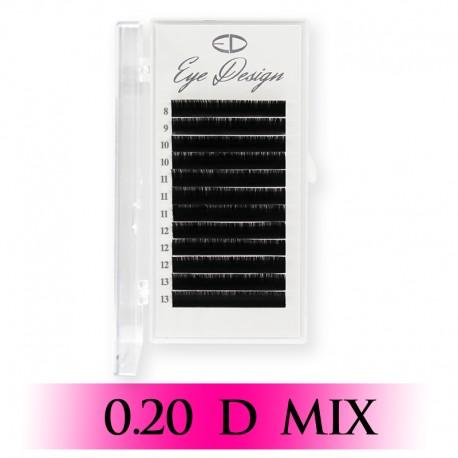 Řasy k prodloužení – D 0.20 mix